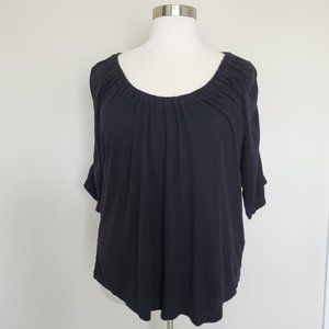 Avenue Plus Size 26/28 Black Ruched Gathered Top